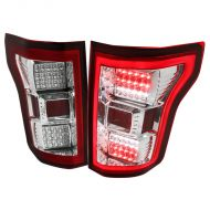 FORD F150 2015-17 LED TAIL LIGHTS RED CHROME CLEAR LENS